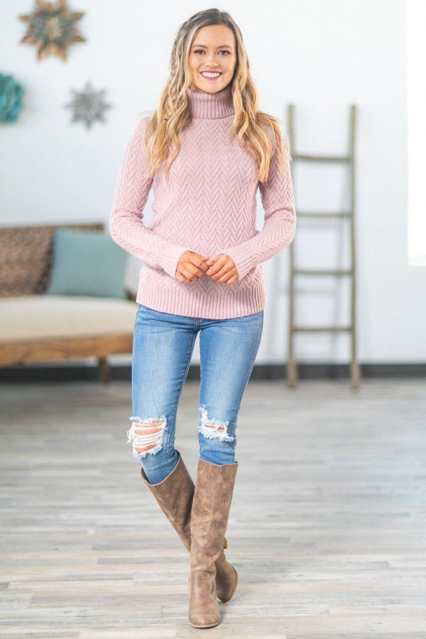 Feeling Pretty Long Sleeve Knit Turtle Neck Sweater in Pink - Filly Flair