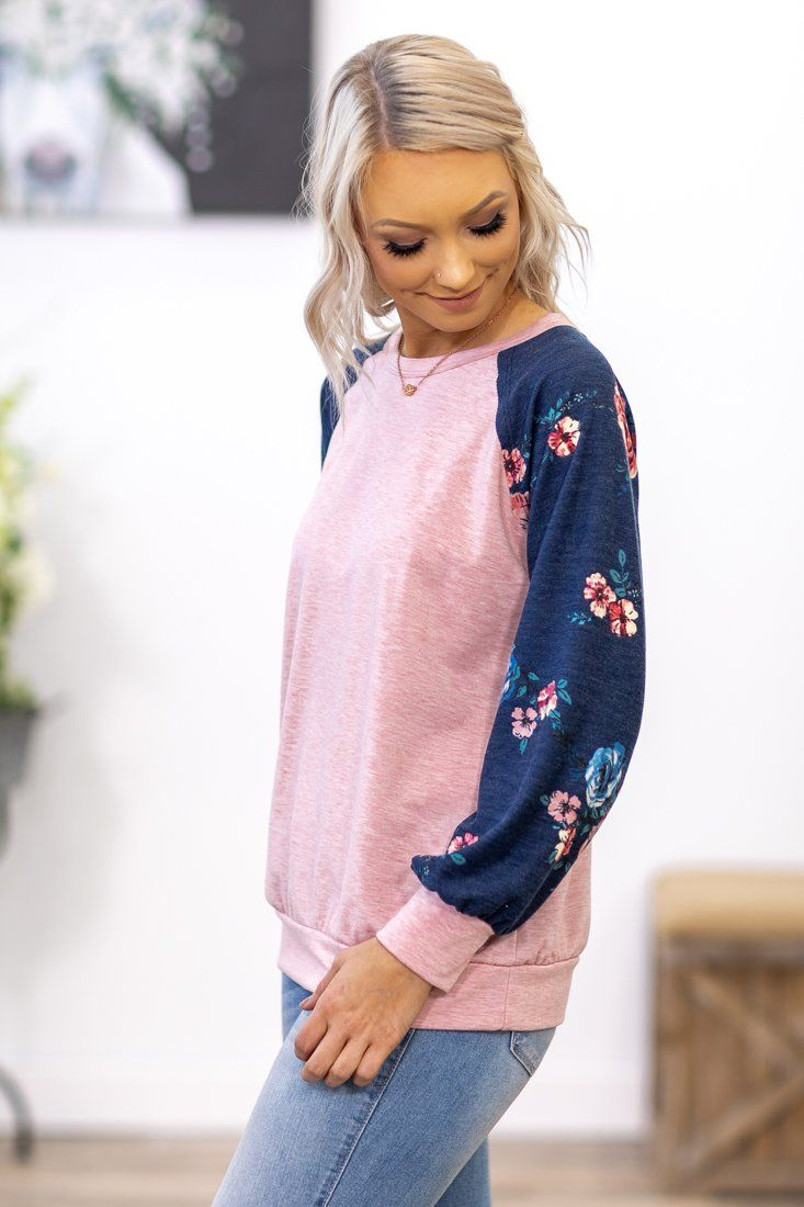 Filly Flair: Lean on Me Floral On Navy Long Sleeve Top in Pink - Filly Flair