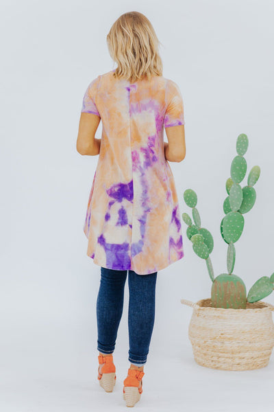 Power Trip High Low Tunic in Orange and Lavender - Filly Flair