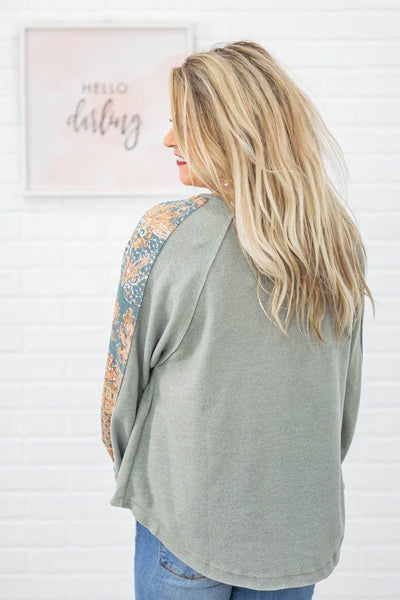 Be Honest Printed Design Long Puff Sleeve Top in Dusty Olive - Filly Flair
