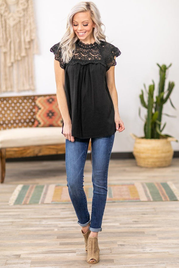 When We First Met Cap Sleeve Crochet Lace Top in Black - Filly Flair
