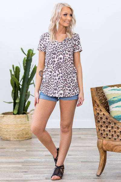 Come To Me Short Sleeve V-Neck Leopard Print Top - Filly Flair