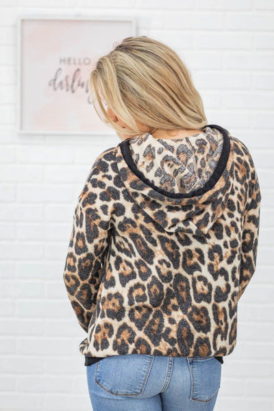 I'm Not Giving Up Leopard Front Pocket Hoodie in Leopard Brown - Filly Flair