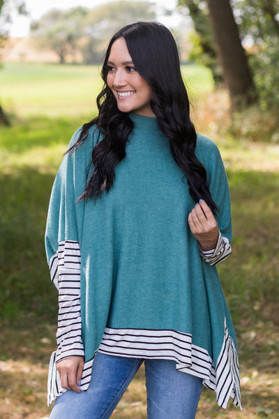 Doing My Thing Long Sleeve Top in Teal - Filly Flair