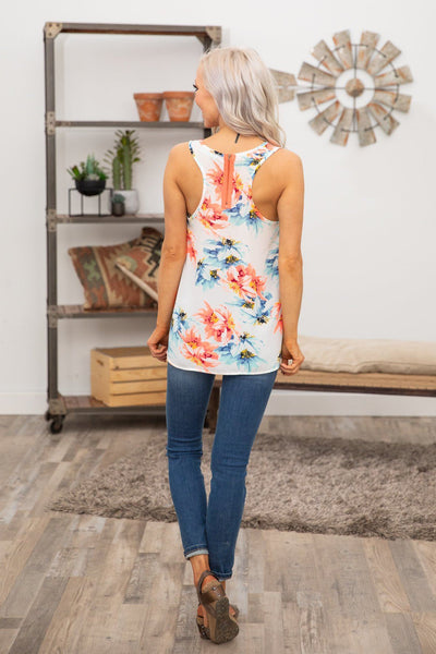 Are You With Me Neon Floral Tank Top in White - Filly Flair