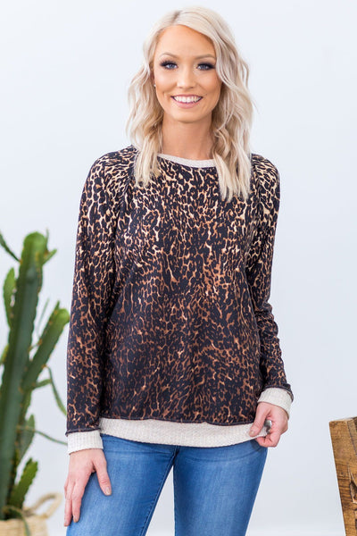 Do You Dare Long Sleeve Waffle Hem Top in Brown Leopard Print - Filly Flair