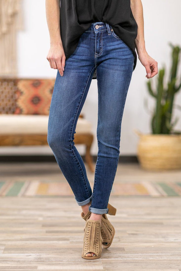 Rosie-Yvette Kan Can Dark Wash Mid Rise Skinny Jeans - Filly Flair