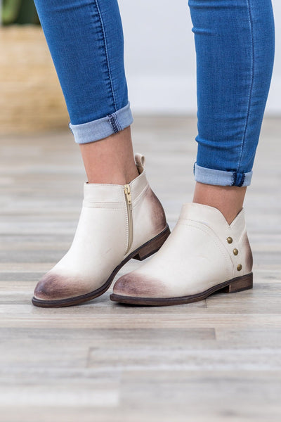 Show Me The Way Distressed Bootie in Brown Ivory - Filly Flair