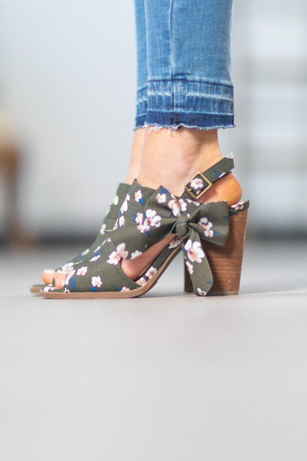 Not Rated Haida Heel In Olive Floral - Filly Flair