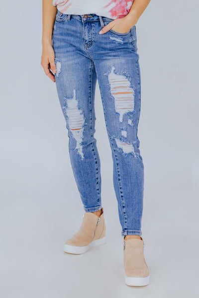 Jase Judy Blue Medium Wash High Waist Distressed Relax Fit Jeans - Filly Flair