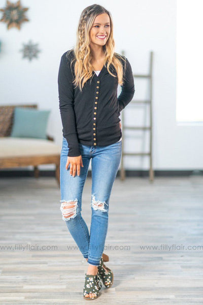The Story Of Us Button Up Cardigan In Black - Filly Flair