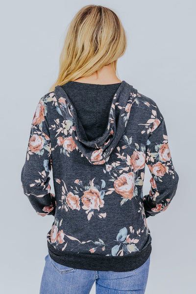 Everyday Is A New Beginning Floral Zip Up In Grey - Filly Flair