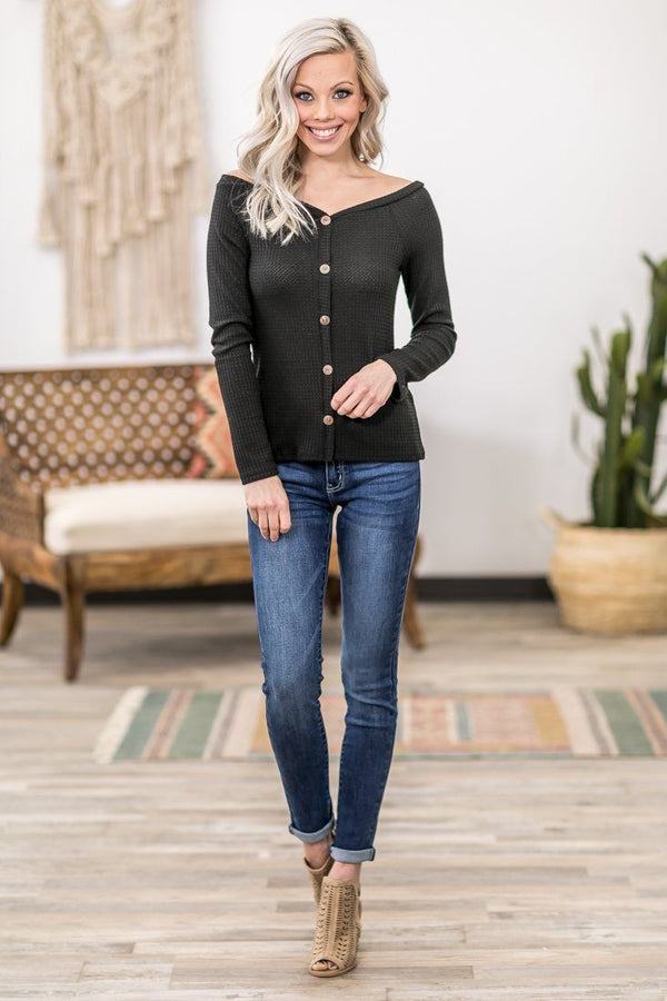 Hold You Close Long Sleeve Button Down Waffle Sweetheart Top in Black - Filly Flair