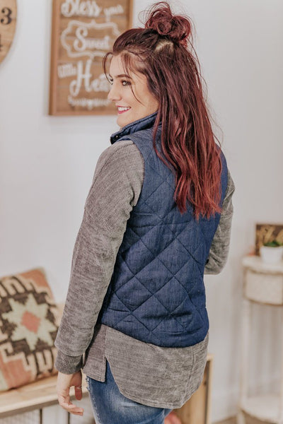 Somewhere To Be Padded Vest in Navy - Filly Flair