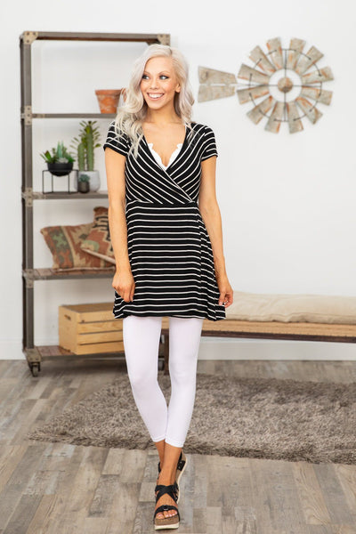 Never Easy Short Sleeve Striped Tunic in Black White - Filly Flair