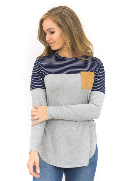 Don't Wake Me Up Long Sleeve Top in Navy - Filly Flair