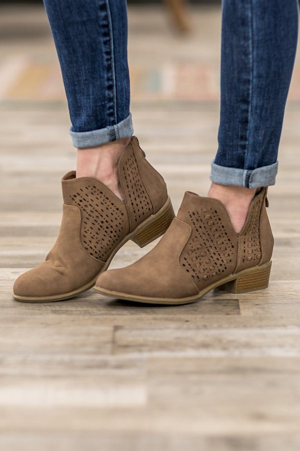 Some Old Backroad Laser Cut Booties in Mocha - Filly Flair