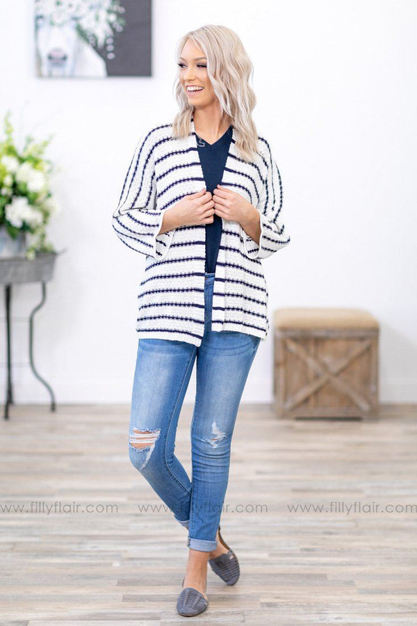 Every Striped Dream 3/4 Sleeve Dolman Knit Cardigan in Navy and White - Filly Flair