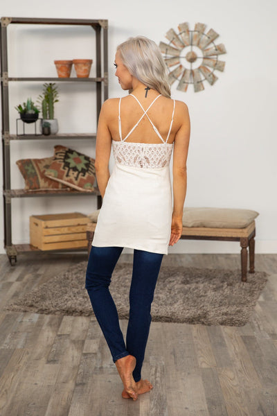 Days Go By Lace Bralette Slip or Tank in White Cream - Filly Flair