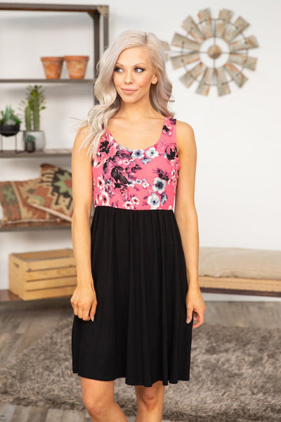 Going To Be You Sleeveless Floral Dress in Black Neon Pink - Filly Flair