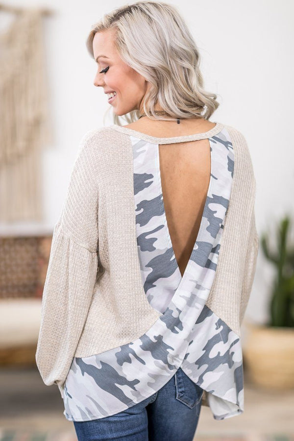 Back of My Mind Long Sleeve Criss Cross Camo Back Waffle Top in Oatmeal - Filly Flair