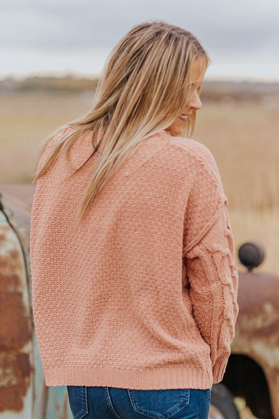 Love Me Fast Knitted Textured Sweater in Coral - Filly Flair