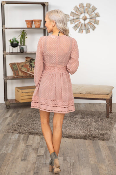On Top Of The World Long Sleeve Swiss Dot Lace Dress in Mauve - Filly Flair