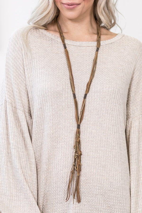 Best Thing Ever Suede Long Tassel Necklace - Filly Flair