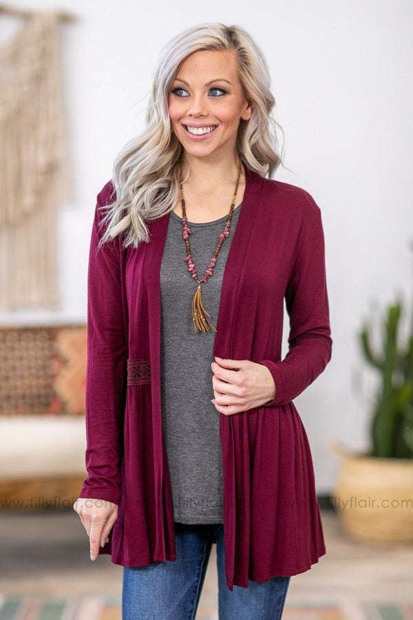 Subtle Beauty Long Sleeve Crochet Babydoll Cardigan in Burgundy - Filly Flair