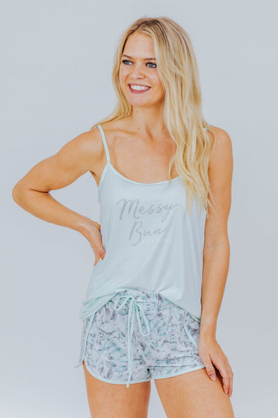 """Messy Bun Gets Things Done"" Lounge Set in Mint - Filly Flair"