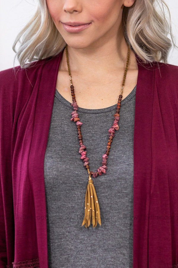 Feel The Fringe Tassel Long Stone Necklace in Burgundy - Filly Flair