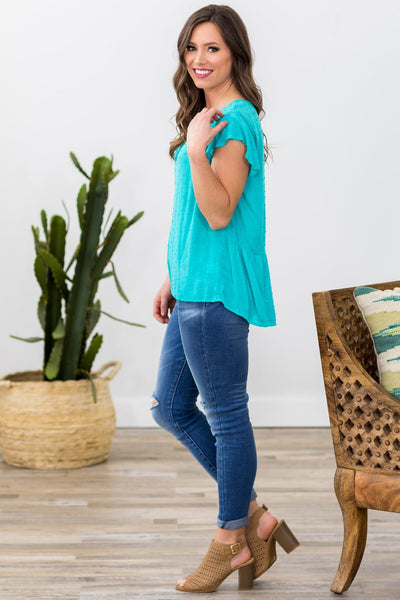 Forever Be Mine Short Ruffle Sleeve Swiss Dots Top in Turquoise - Filly Flair