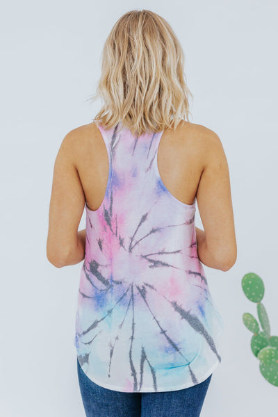 Calm Before The Storm Tie Dye Razor Back Tank Top in Purple - Filly Flair