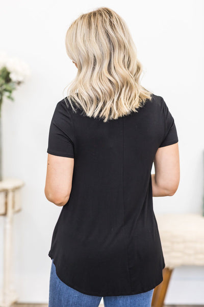 Time Stood Still Five Button Short Sleeve Top in Black - Filly Flair