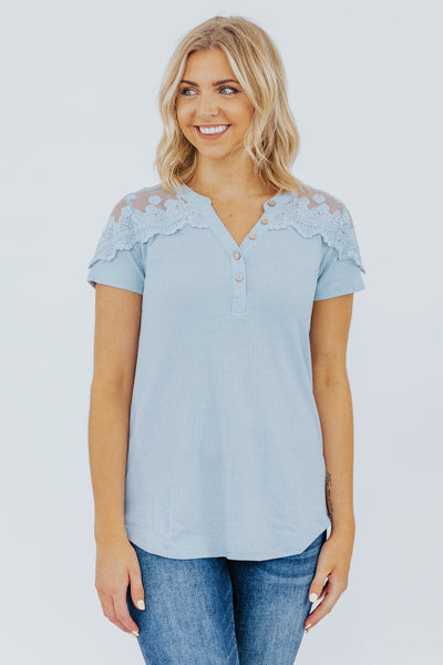 Day Break Top In Dusty Blue - Filly Flair