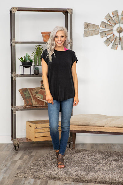 #ST3# Bounce Back Short Sleeve Open Draped Back Top in Vintage Black - Filly Flair