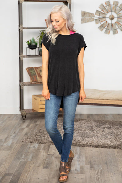 Bounce Back Short Sleeve Open Draped Back Top in Vintage Black - Filly Flair
