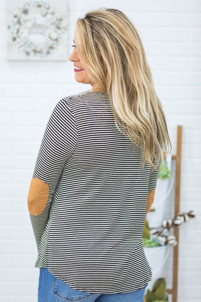 Nothing To Lose Stripe Pattern Long Sleeve Elbow Patch Criss Cross Top in Black - Filly Flair