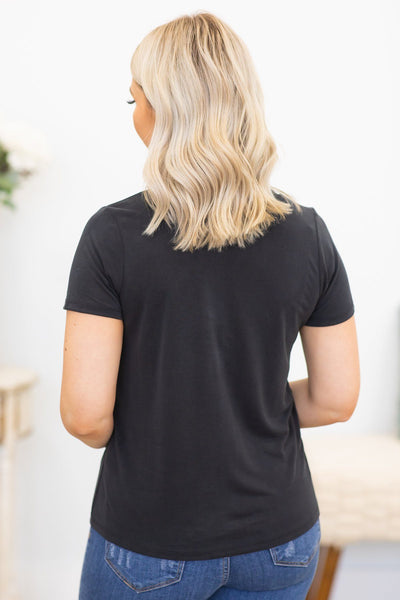 Welcome To The Parade Basic Short Sleeve Top In Black - Filly Flair