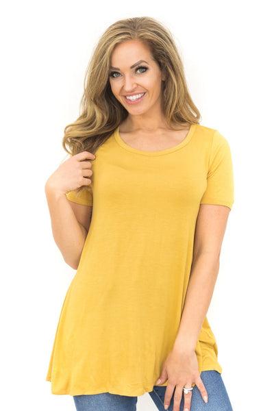 My Time To Shine Short Sleeve Top in Mustard - Filly Flair