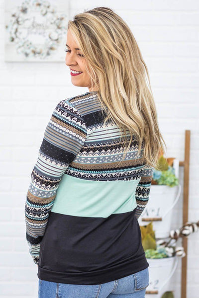 Look Into My Eyes Aztec Print Color Block Long Sleeve Top in Mint - Filly Flair