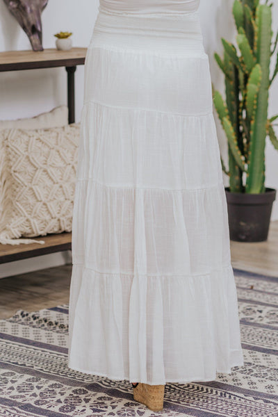 Keeping It Cool Smocking Long Skirt In White - Filly Flair