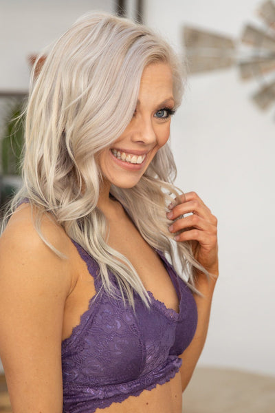 She's Beautiful Racerback Lace Bralette in Lavender - Filly Flair
