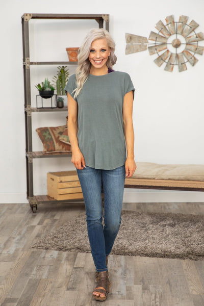 Bounce Back Short Sleeve Open Draped Back Top in Deep Sage - Filly Flair