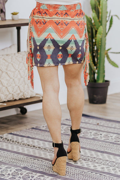 There You Go Again Printed Detail Short Skirt in Red - Filly Flair