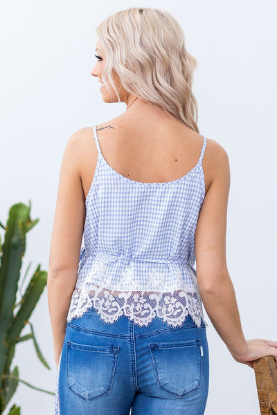 Summertime Crush Lace Detail Wrap Tank Top in Blue and White Plaid - Filly Flair