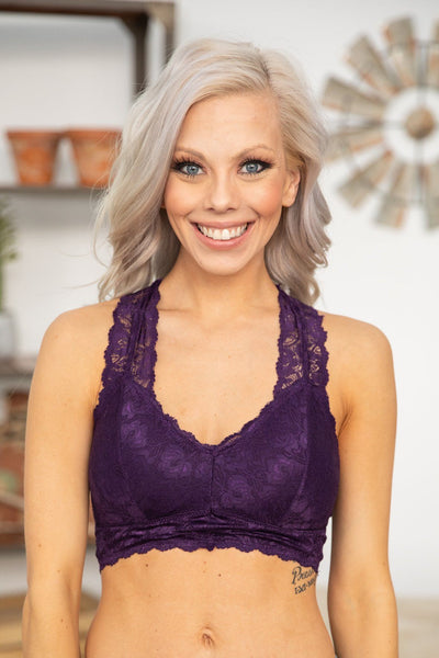 She's Beautiful Racerback Lace Bralette in Deep Purple - Filly Flair