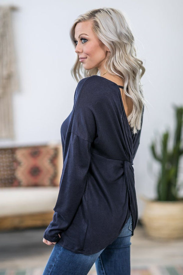 Get to You Long Sleeve Twist Back Top in Midnight Navy - Filly Flair