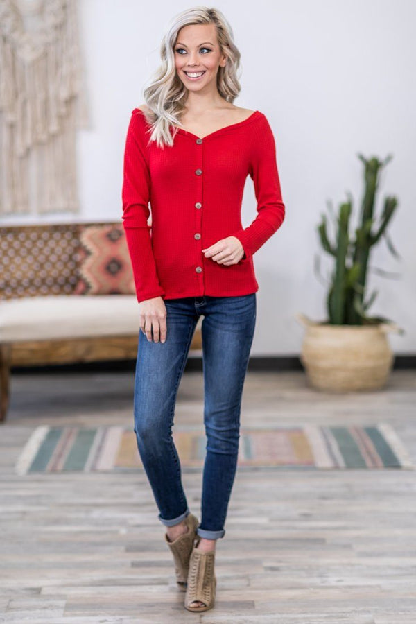 Hold You Close Long Sleeve Button Down Waffle Sweetheart Top in Red - Filly Flair