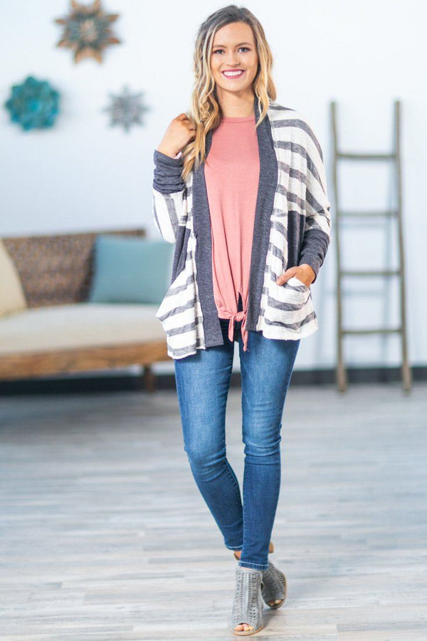 A New Start Striped Cardigan in Grey - Filly Flair